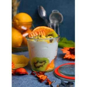 Pot Vidre Pur Got Cristall Iogurt Fruita Kiwi Taronja Idea Desdejuni